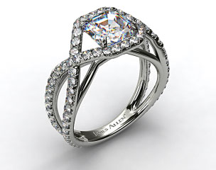 Platinum Engagement Ring with Braided Pave Overlay